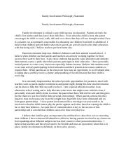 EDD 8403 Family Involvement Philosophy Statement