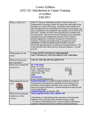 ANZ 321 Syllabus Fall 2013