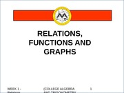 CO 1 Week 1 - Relations, Functions and Graphs