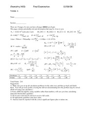 Final Exam Key 2008 on Introductory Chemistry