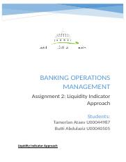 Banking Operations Management__Assignment 2
