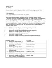 Week 1 Case Project 2-3-Questions about the OSI Model Assignment NET 102