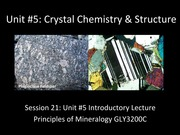 Walters GLY 3200C Unit 5 Crystal Chemistry Lecture