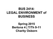 BUS 2414 US Legal System Lecture