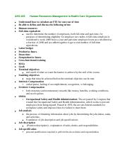 AHS 405Human Resources Management in Health Care Organizations