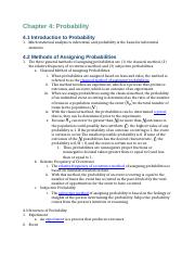 Business Statistics Reading Notes Chapters 4