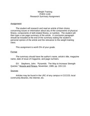 P02 Weight Training Research Summary Assignment