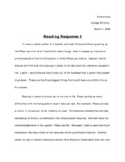 reading response homemade education essay Introduction to college writing pomerantz/wagener malcolm x: a homemade education (excerpt) from the autobiography of malcolm x (1965) it was because of my letters that i.