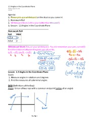1.3 Angles in the Coordinate Plane