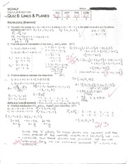 Quiz 6: Lines and Planes Page 1