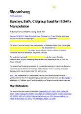 Bloomberg Article 2015.9.5- Barclays, BofA, Citigroup Sued for ISDAfix Manipulation