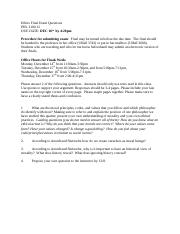Ethics Final Exam Fall 2015 Section 12