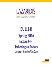 BU111 Spring 2016 - Week #4 - Technological Factors - Student's Copy