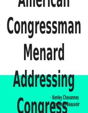 African American Congressman Menard Addressing Congress