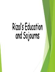 RIZAL EDUC AND SOJOURNS
