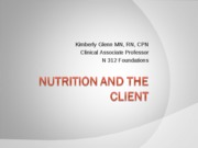 Nutrition and the Client_F10