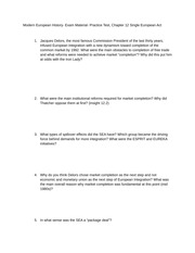 Modern European History- Exam Material- Practice Test, Chapter 12 Single European Act