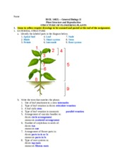 Plant Structure and Reproduction LAB