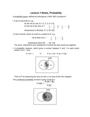Lecture 1 Notes, Probability