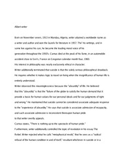 "Philosophy ""Albert Writer"" Essay"
