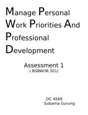 Assessment 2 (Manage personal work priorities and professional development.docx
