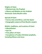 World History 1- Origins of Islam