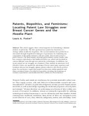 Patents, Biopolitics, and Feminisms Locating Patent Law Struggles over Breast Cancer Genes and the H