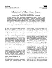 Scheduling the Belgian Soccer League