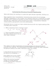CHMY 123 Carbohydrate Structure & Function Relationship Worksheet