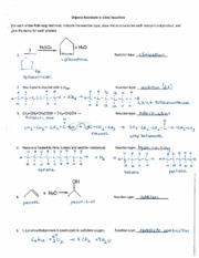 Organic Reactions in Class - KEY