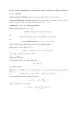 Lecture 18 perfect numbers and mersenne primes