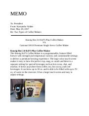 Comparing Coffee Makers .docx