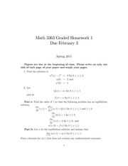 Homework 1 on Introduction to Partial Differential Equations Spring 2015