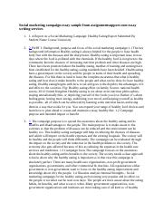 Social marketing campaign essay sample from assignmentsupport.docx