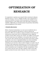 OPTIMIZATION OF RESEARCH