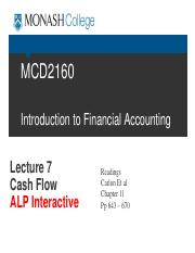 g ALP MCD2160 Trim2 2016 Lecture 7 Cash Flow