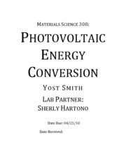 J - Photovoltaic Energy Conversion