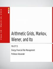 Lecture 13 - Arithmetic Grids, Markov, Wiener, and Ito.ppt