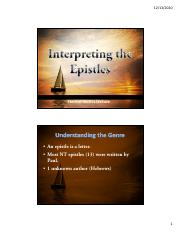 2.7 Interpreting the Epistles