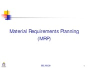 Module I_Material Requirements Planning