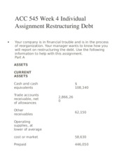 ACC 545 Week 4 Individual Assignment Restructuring Debt