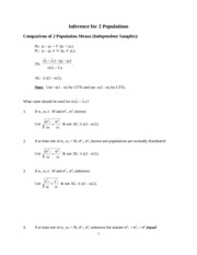 Inference for 2 Populations