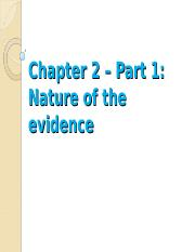 EHS 260 Chapter 2 Nature of Evidence - Part 1 2016-2