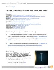 Reason Of The Seasons Name Date Student Exploration Seasons Why Do