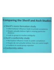 PSYCH 360 Social Psychology - Comparing the Sherif & Asch Studies