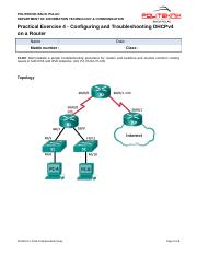 Std_Practical Exercise 4 - Configuring  Troubleshooting DHCPv4 on a Router (1)