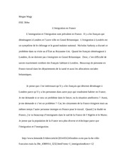 French Immigration Essay FRE 304w