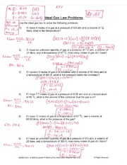 Worksheets Ideal Gas Law Worksheet chm142 ideal gas law worksheet elgin community college dr 3 pages problems key