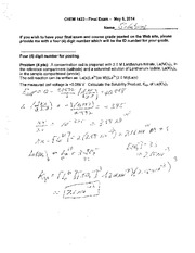 Final Exam Solution Spring 2014 on General Chemistry