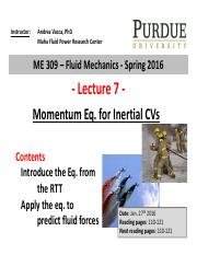 Lecture 7 - momentum eq for CV instructor after